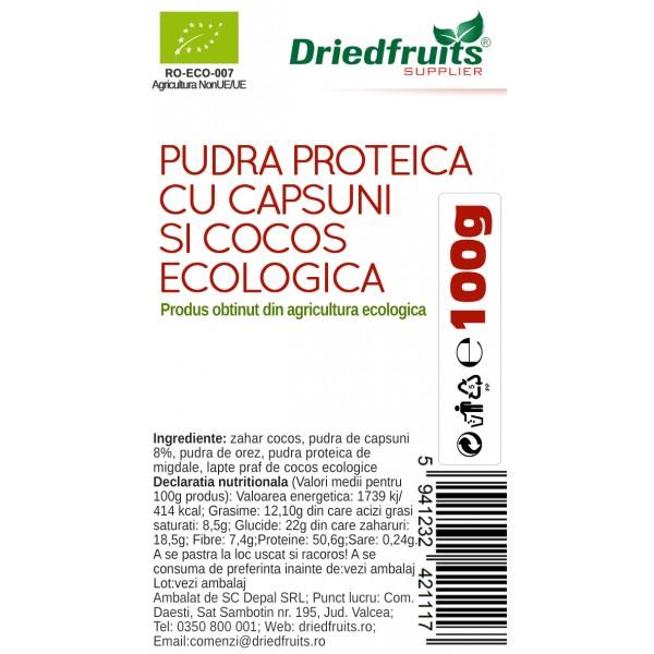 Pudra proteica cu capsuni si cocos BIO - 100 g