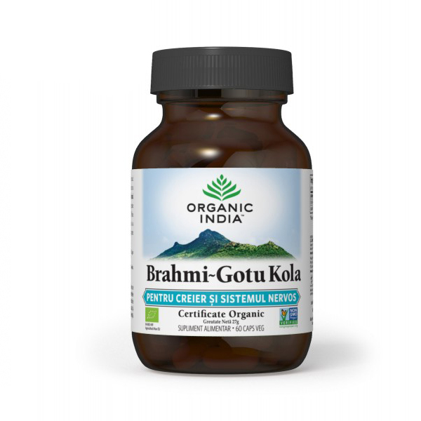Brahmi-gotu kola (pt creier si sistemul nervos, deficit de atentie) (fara gluten) BIO Organic India - 60 cps