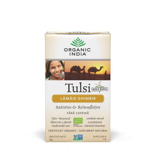 Ceai Tulsi (Busuioc Sfant) cu lamaie si ghimbir (plicuri) (fara gluten) Organic India BIO - 36 g