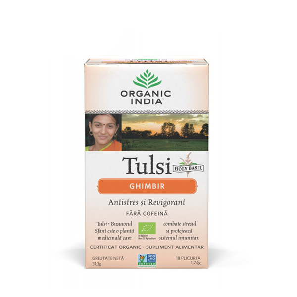Ceai Tulsi (Busuioc Sfant) ghimbir (plicuri) (fara gluten) BIO Organic India - 31.3 g