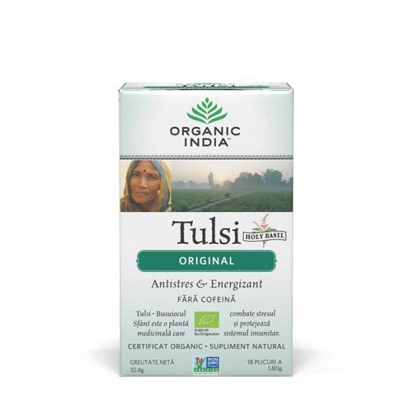 Ceai Tulsi (Busuioc Sfant) original (plicuri) (fara gluten) BIO Organic India - 32.4 g