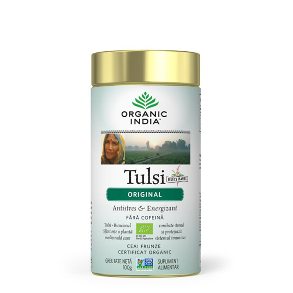Ceai Tulsi (Busuioc Sfant) original (fara gluten) Organic India BIO - 100 g