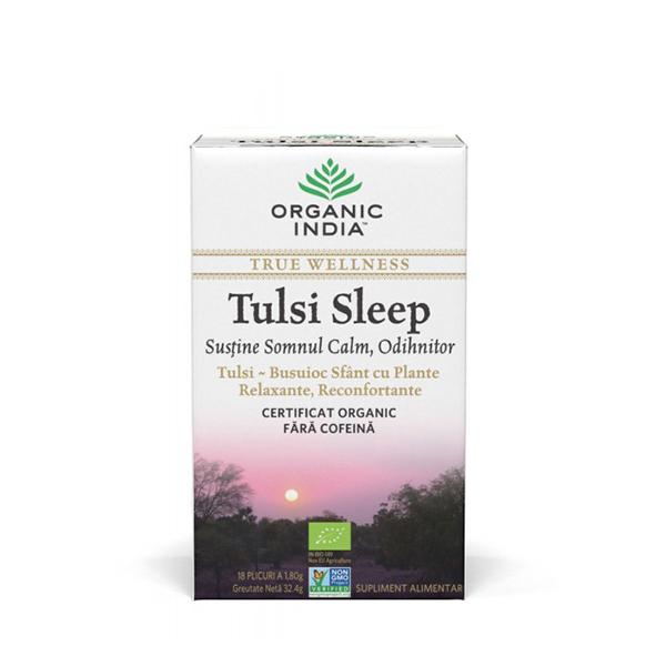 Ceai Tulsi sleep cu plante relaxante, reconfortante (plicuri) (fara gluten) BIO Organic India - 32.4 g