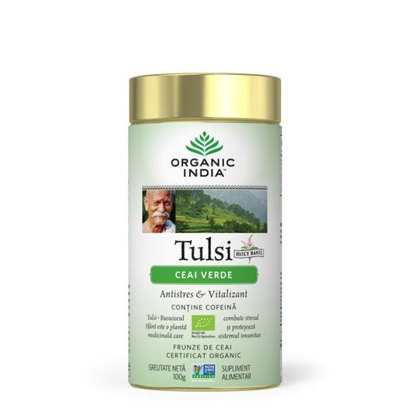 Ceai verde Tulsi (busuioc sfant) (fara gluten) BIO Organic India - 100 g