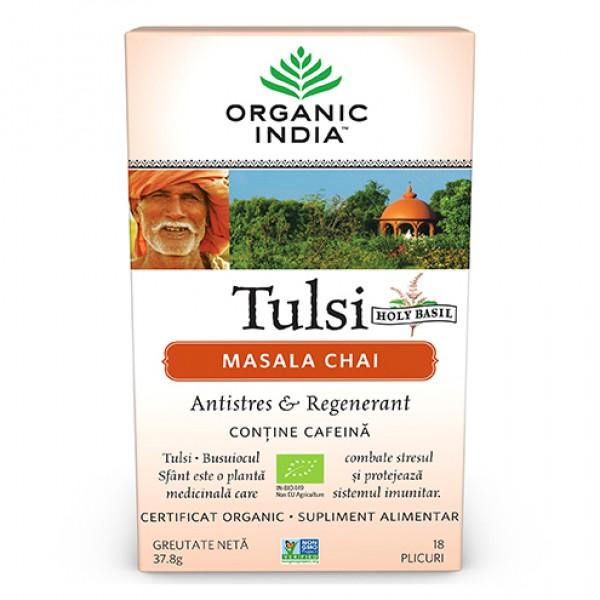 Ceai Tulsi (Busuioc Sfant) Masala Chai (fara gluten) BIO Organic India - 37.80 g