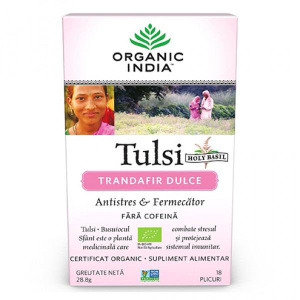 Ceai Tulsi (Busuioc Sfant) Trandafir Dulce (fara gluten) Organic India BIO - 28.80 g