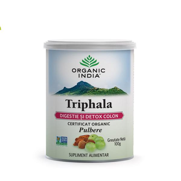 Triphala pudra (digestie si detoxifiere colon) (fara gluten) BIO Organic India - 100 g