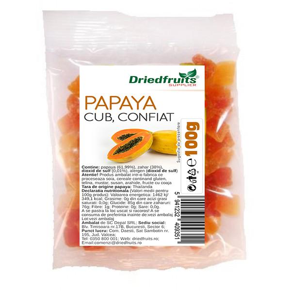 Papaya confiata cuburi Driedfruits - 100 g