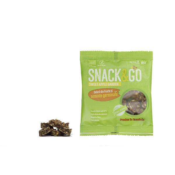 Snack & GO cu mere si fulgi de ovaz germinat BIO Petras Bio - 40 g