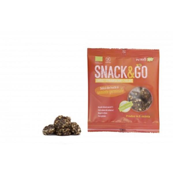 Snack & GO cu capsuni si seminte germinate BIO Petras Bio - 40 g