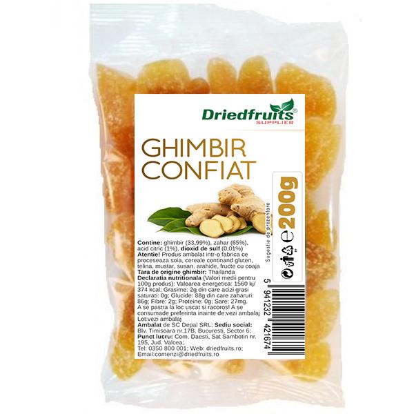 Ghimbir confiat cuburi - 200 g