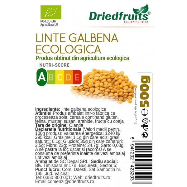 Linte galbena BIO Driedfruits - 500 g