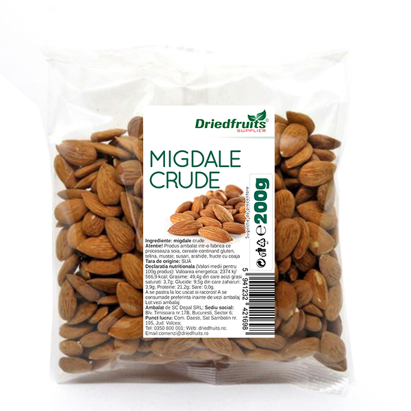 Migdale crude calitatea I California Supreme Driedfruits - 200 g