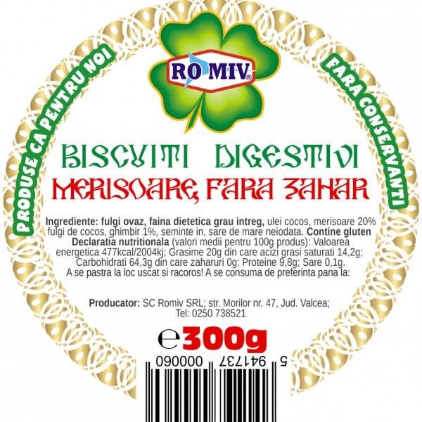 Biscuiti digestivi cu merisoare (fara zahar) Romiv - 300 g
