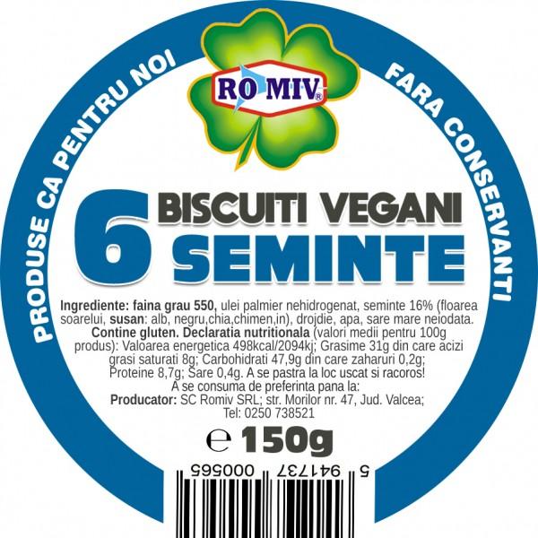 Biscuiti vegani cu 6 seminte Romiv - 150 g