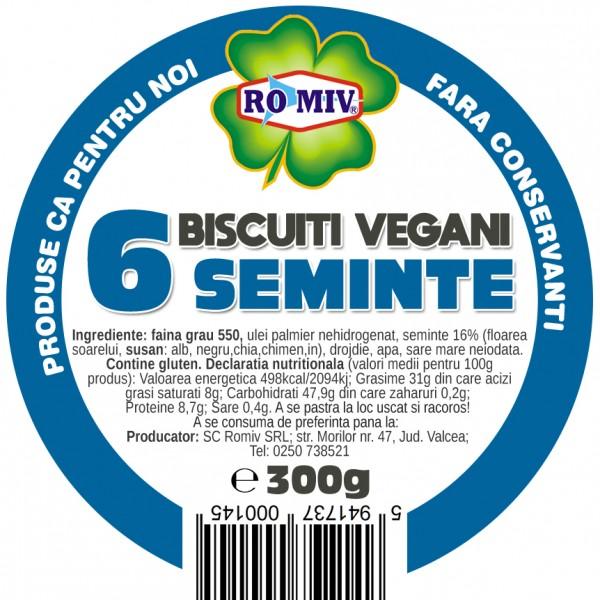 Biscuiti vegani cu sase seminte Romiv - 300 g