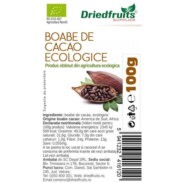 Boabe cacao BIO Driedfruits - 100 g