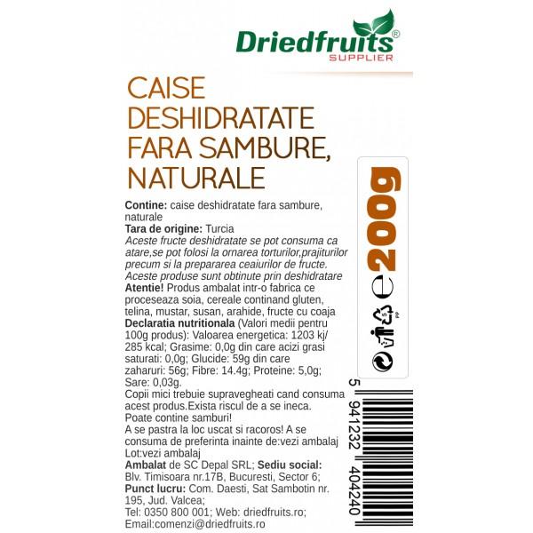 Caise deshidratate naturale - 200 g