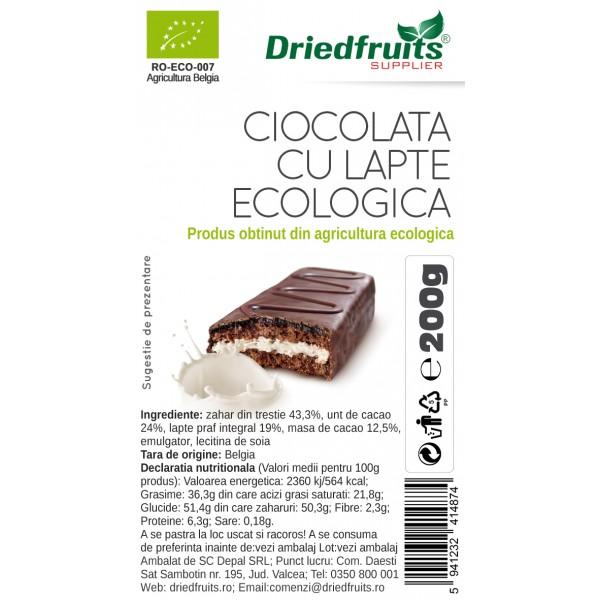 Ciocolata lapte (banuti) BIO - 200 g