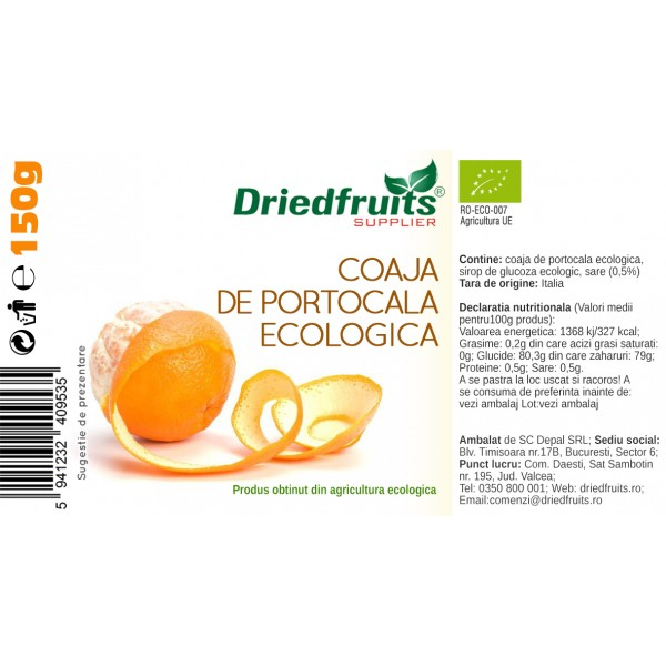 Coaja portocala confiata BIO Driedfruits - 150 g