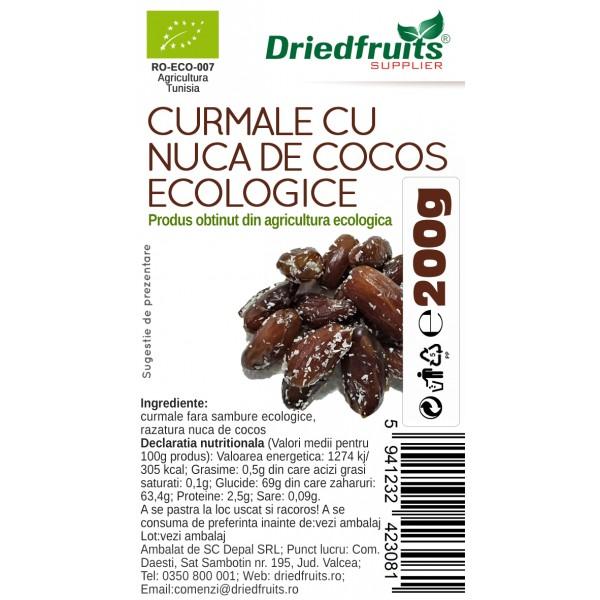 Curmale deshidratate fara samburi cu nuca cocos BIO - 200 g