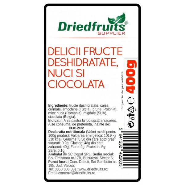 Delicii fructe deshidratate, nuci si ciocolata Driedfruits - 400 g