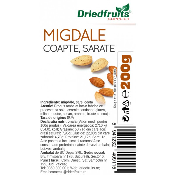 Migdale coapte si sarate Sunlit - 200 g x 2 Buc (PROMO - 15%)