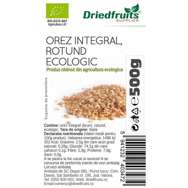 Orez integral rotund BIO Driedfruits - 500 g