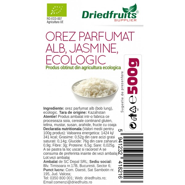 Orez alb parfumat (Jasmine) BIO - 500 g x 2 Buc (PROMO - 20%)