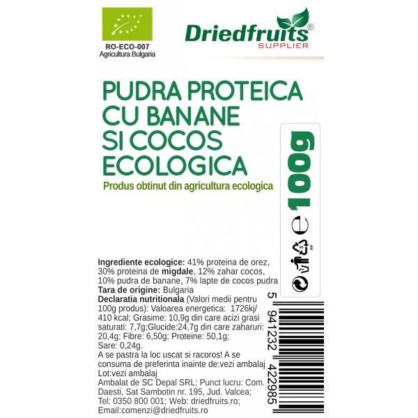 Pudra proteica cu banane si cocos BIO - 100 g