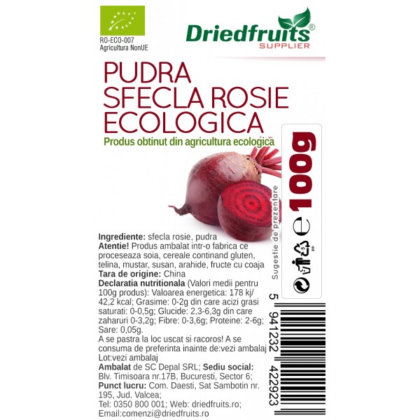 Sfecla rosie pudra BIO - 100 g
