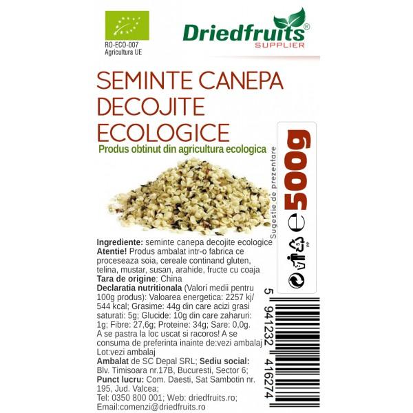 Seminte decojite canepa BIO Driedfruits - 500 g