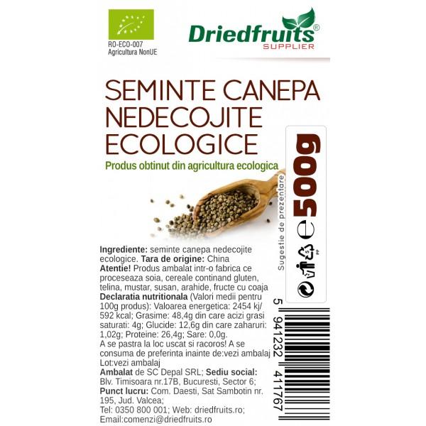 Seminte nedecojite canepa BIO Driedfruits - 500 g
