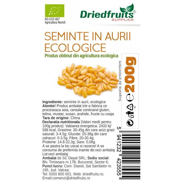 Seminte in aurii BIO Driedfruits - 200 g