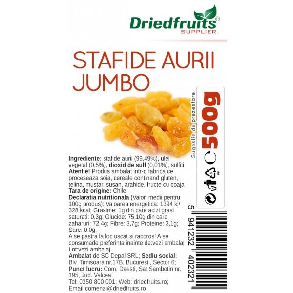 Stafide aurii deshidratate Jumbo Chile Driedfruits - 500 g