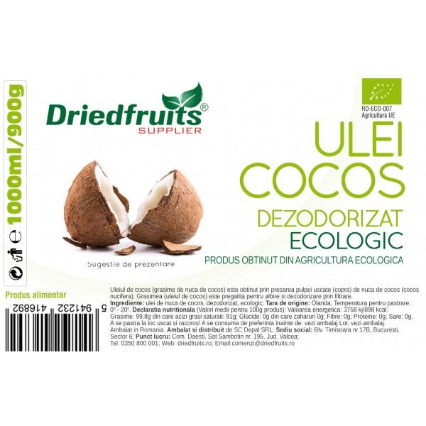 Ulei cocos alimentar BIO (borcan) - 1000 ml/900 g
