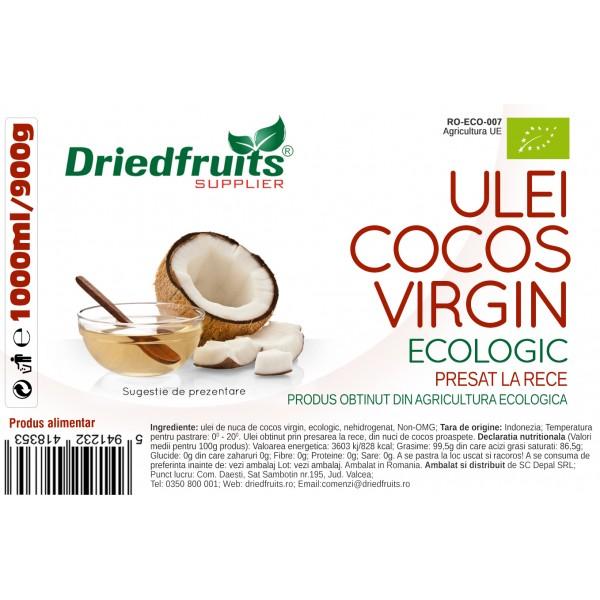 Ulei cocos virgin BIO presat la rece (borcan) - 1000 ml/900 g