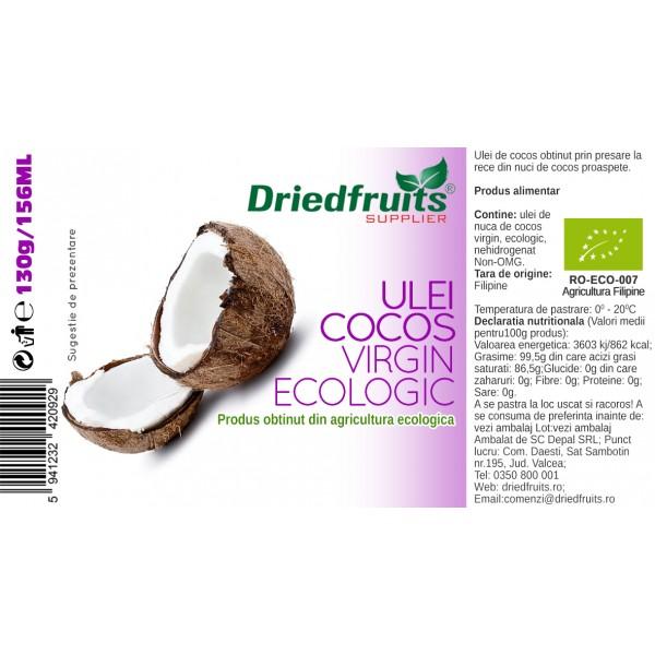 Ulei cocos virgin BIO (presat la rece) - 156 ml/130 g