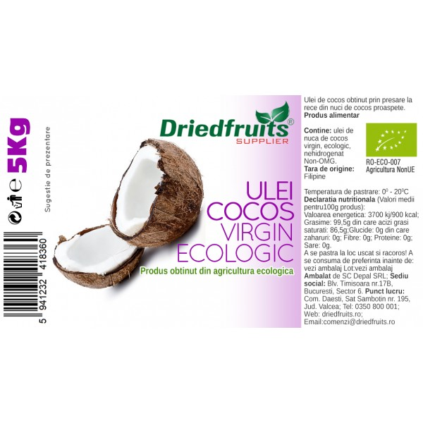 Ulei cocos virgin BIO (presat la rece) Driedfruits - 5 kg