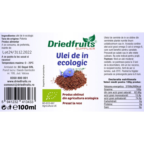 Ulei in alimentar BIO - 100 ml