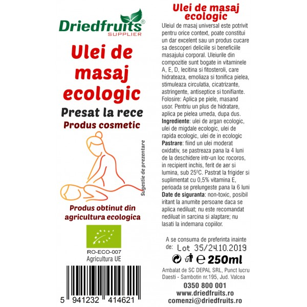 Ulei masaj cosmetic BIO - 250 ml (*contine ulei de: argan, migdale, rapita si in)
