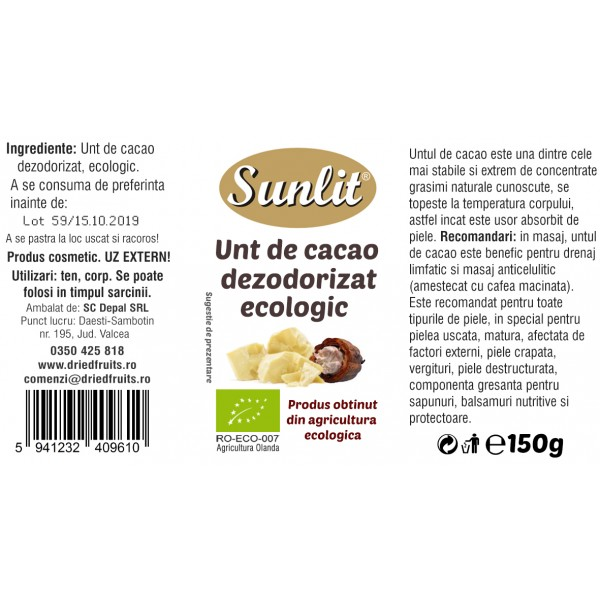 Unt cacao cosmetic BIO - 150 g