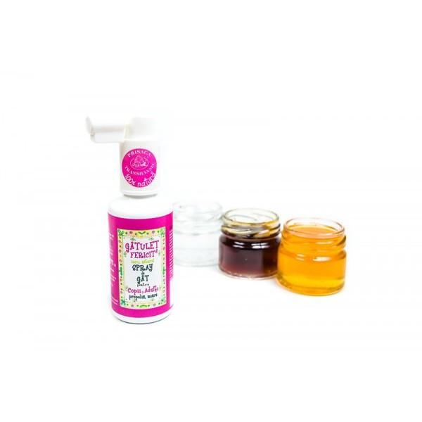 Gatulet fericit - spray de gat pt copii cu miere si propolis PRISACA TRANSILVANIA - 20 ml