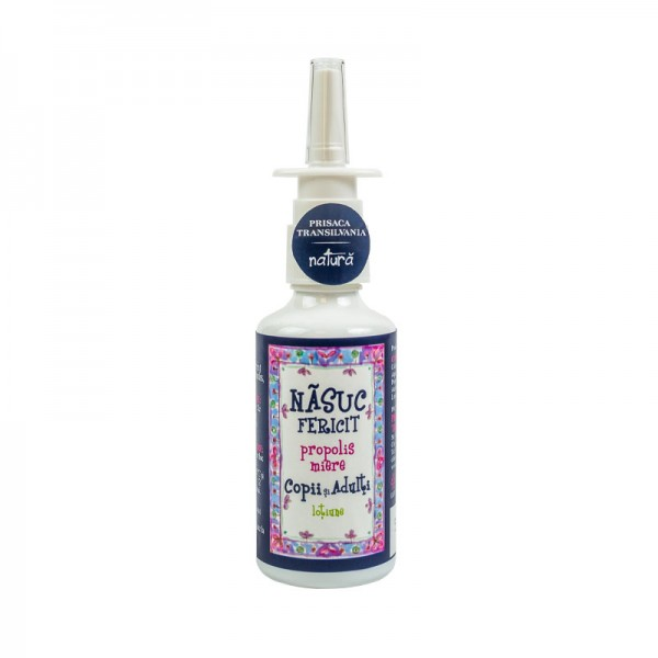 Nasuc fericit - spray pt copii cu miere, propolis si argint Prisaca Transilvania - 20 ml