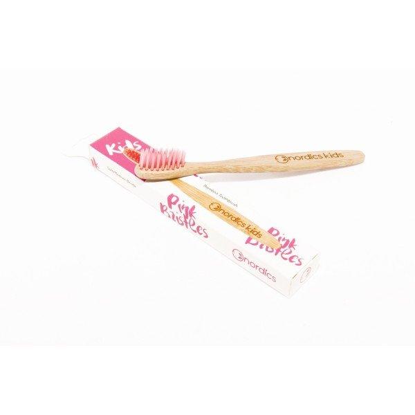 Periuta de dinti din bambus pentru copii - roz Nordics