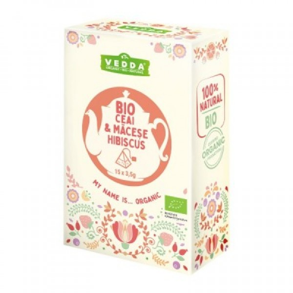 Ceai macese si hibiscus (15 piramide) BIO Vedda - 52.50 g