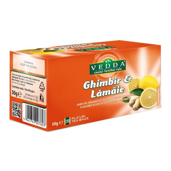 Ceai ghimbir & lamaie (20 plicuri) Vedda - 30 g