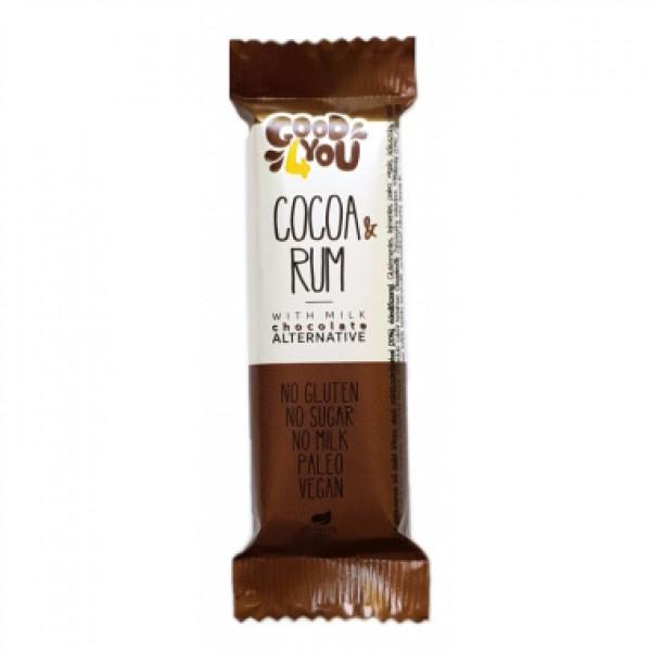 Baton cacao si rom invelit in ciocolata (fara gluten, lapte si zahar) Good 4You - 25 g