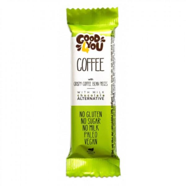 Baton cafea invelit in ciocolata (fara gluten, lapte si zahar) Good 4You - 25 g