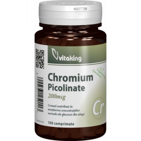 Picolinat de crom 200 mcg Vitaking - 100 comprimate